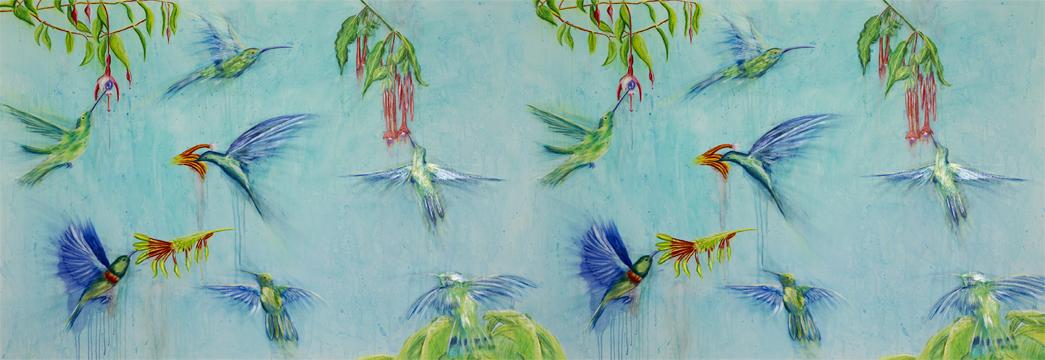 Hummingbirds, 80% Cashmere and 20% Silk, 70 x 200cms £150